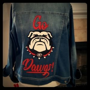 Custom hand painted denim jacket, UGA Bulldogs